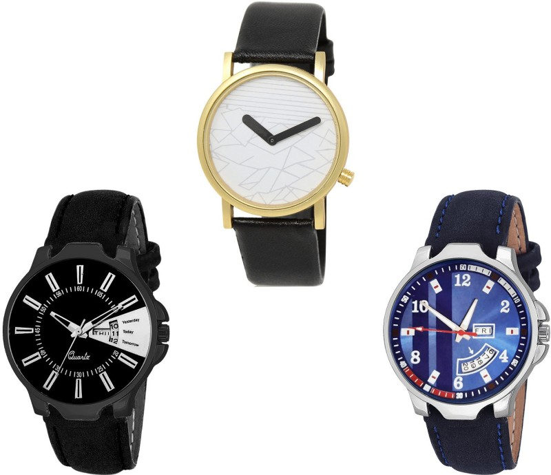 NIKOLA Contemporary Italian Designer Day And Date Analogue Black And Blue Color Boys And Men Watch - BL46.37-B160-B159 (Combo Of 3 ) combo watch Analog Watch  - For Girls