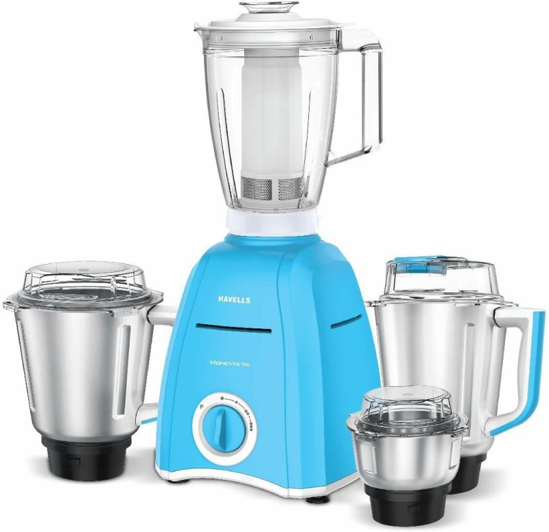Havells momenta NV 4 jar 750 Mixer Grinder(sky blue, 4 Jars)