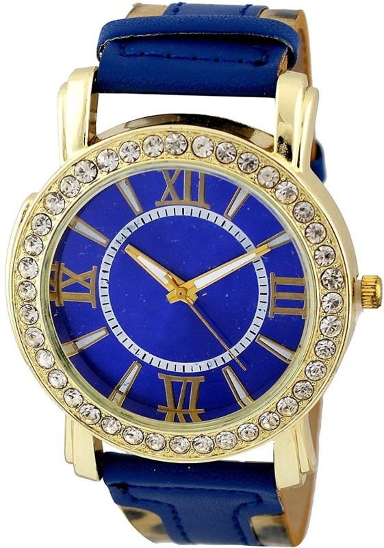 Genevaa Fancy Trendy Elegant Blue Leopard Print Party Wear Analog Watch - For Women