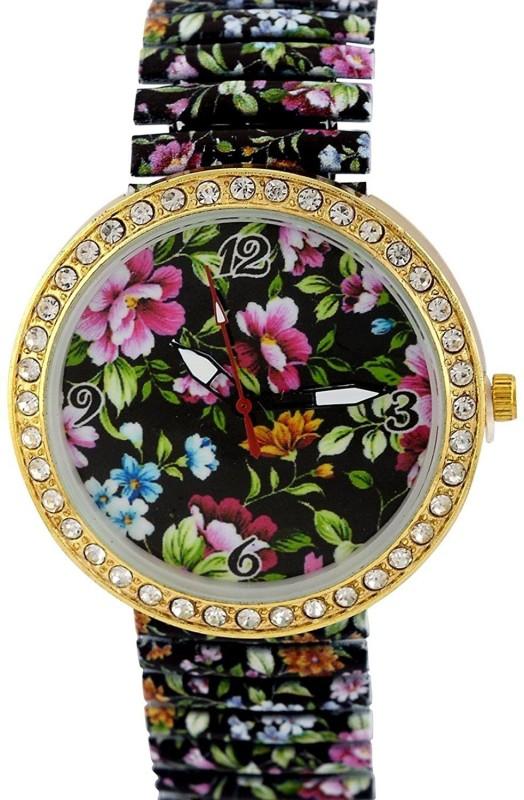 Genevaa Beautiful Dark Blue Flower Designer Party Wear Stretchable Band Analog Watch - For Women