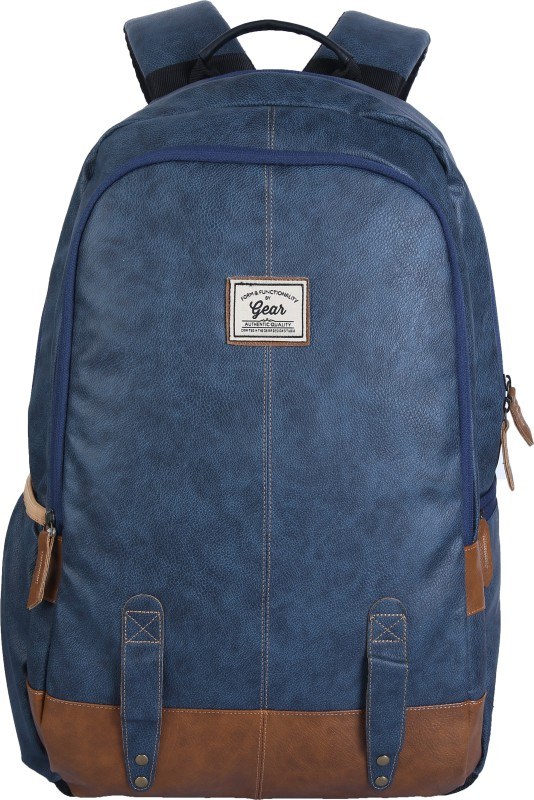 Gear CLASSIC ANTI THEFT FAUX LEATHER 20 L Laptop Backpack(Tan, Blue)