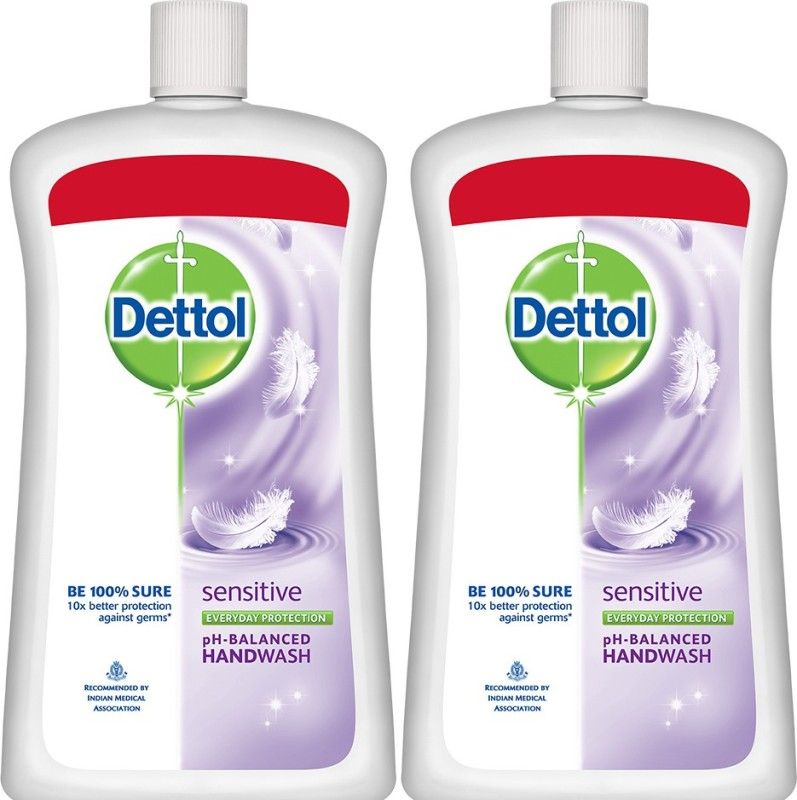 Dettol Liquid Handwash Soap Jar, Sensitive - 900 ml(1800 ml, Bottle, Pack of 2)