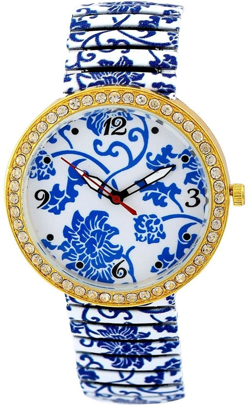 Genevaa Fancy White Design Shining Crystals Studded Stretchable Band Analog Watch - For Girls