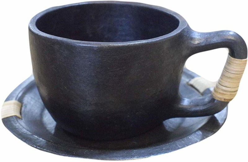 Maikart Black Stone Pottery Handmade Longpi Oval Tea Mug with Saucer with Cane Work Pottery(Black, Pack of 1)