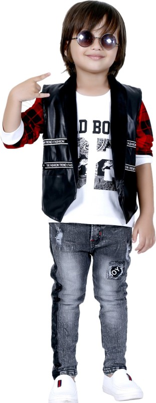 Bad Boys Baby Boys & Baby Girls Party(Festive) Jacket Jeans(Black)