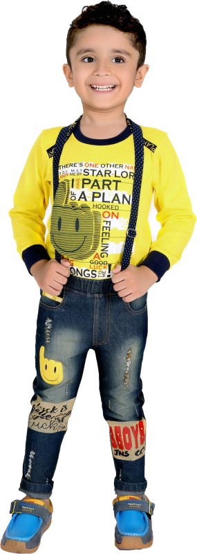 Bad Boys Baby Boys & Baby Girls Casual T-shirt Jeans(Yellow)
