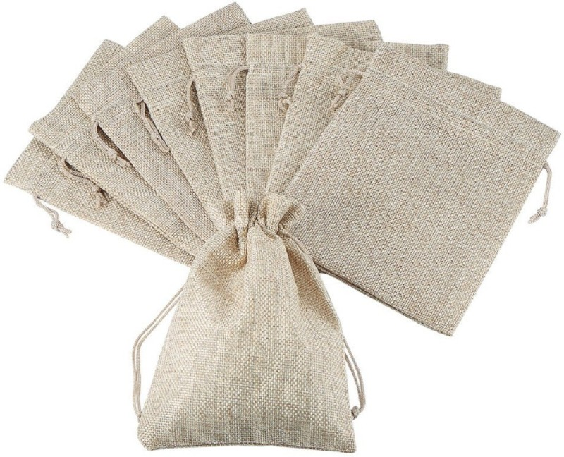 Lifekrafts Jute Pouch, Gift Bags for Return Gifts Bags, Pack of 50, Size 24 * 24 Cm (9 * 9 inches),Burlap, Natural Jute Color. Potli(Multicolor)