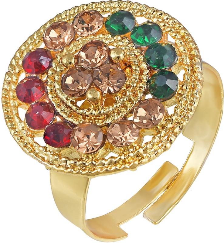 MissMister MissMister Gold Plated, Round Shape Colourful CZ Free Size Adjustable Finger Ring Traditional Women Brass Ring