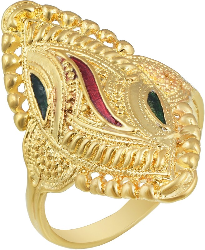 MissMister Gold Plated, Marquise Shape Meenakari Free Size Adjustable Finger Ring Traditional Women Brass Cubic Zirconia Ring