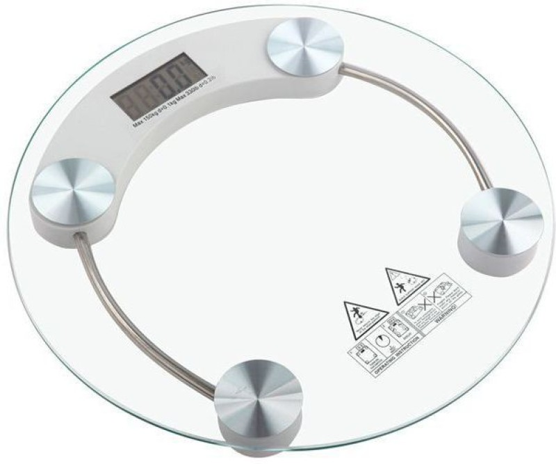 Hoover Round Glass Electronic Digital Body Weight Weighing Scale (White) Weighing Scale(Transparent)