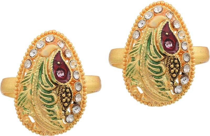 DzineTrendz Gold Plated CZ Ethnic toering Bichiya for Women Traditional Jewellery Brass Gold Plated Toe Ring Set