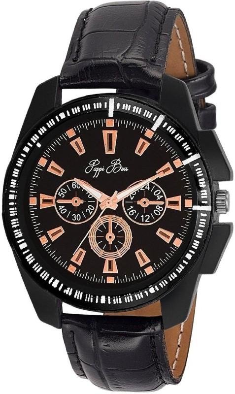 Genevaa Decent Sober Black Octane Chronograph Pattern Analog Watch - For Men