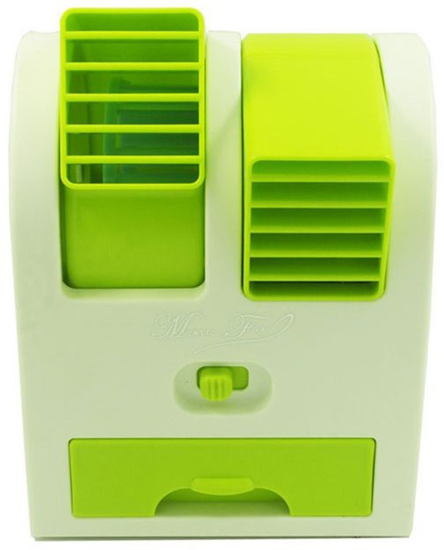 M-Max Mini USB Air Conditioner Cooling Fan Cooling Portable Desktop Dual Bladeless Air Cooler Cooler(Green, White)