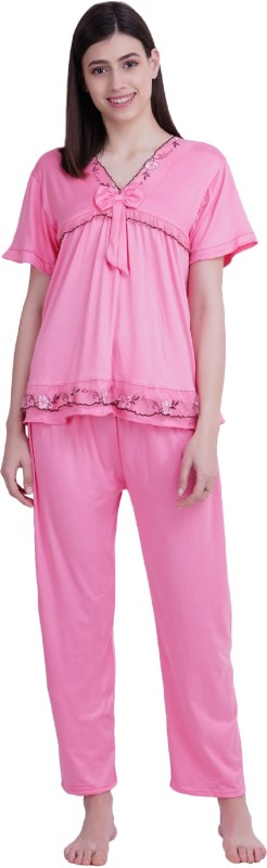 Icable Women Embroidered Pink Night Suit Set