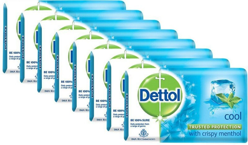 Dettol Bathing Bar Soap, Cool(1000 g, Pack of 8)