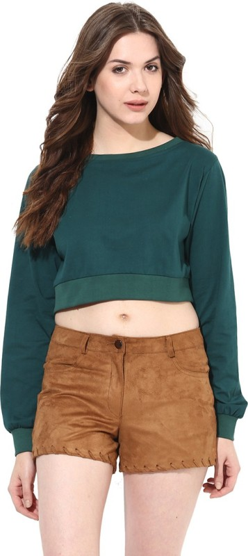 Miss Chase Casual Full Sleeve Solid Women's Green Top