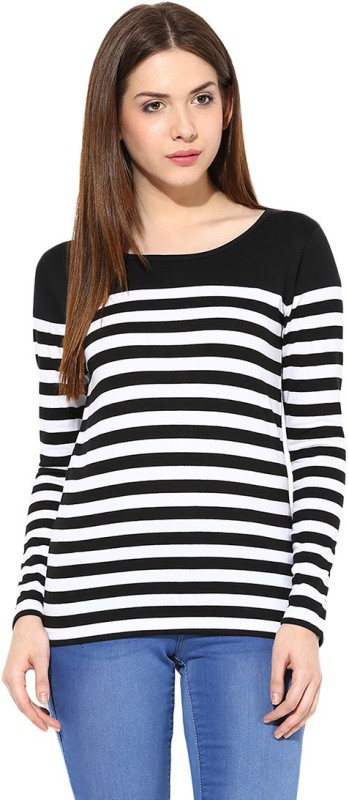 Miss Chase Casual Full Sleeve Striped Women's Black, White Top