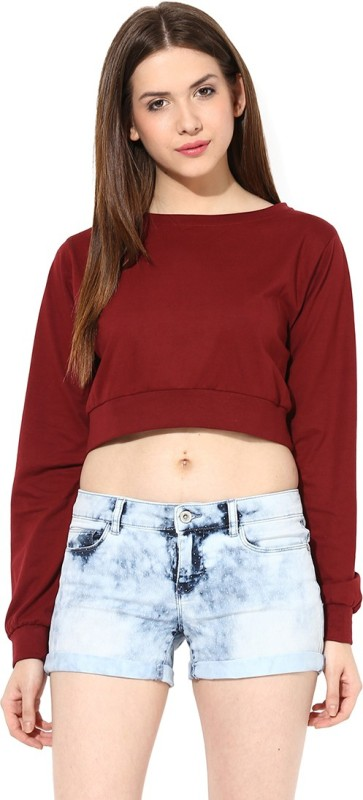Miss Chase Casual Full Sleeve Solid Women Maroon Top