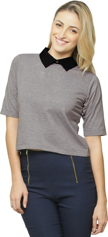 Miss Chase Casual Short Sleeve Solid Women Grey, Black Top