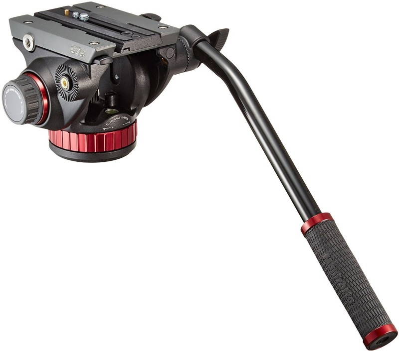 manfrotto 502 Fluid video Head with flat base for Video Tripod(Black, Supports Up to 7000 g)