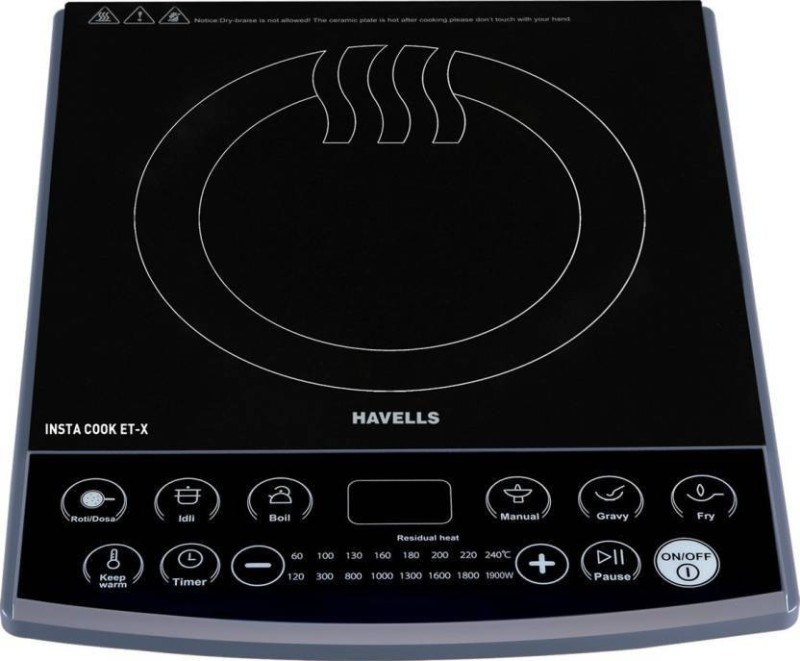 Havells INSTA COOK ET-X Induction Cooktop (Black, Push Button) Induction Cooktop(Black, Touch Panel)