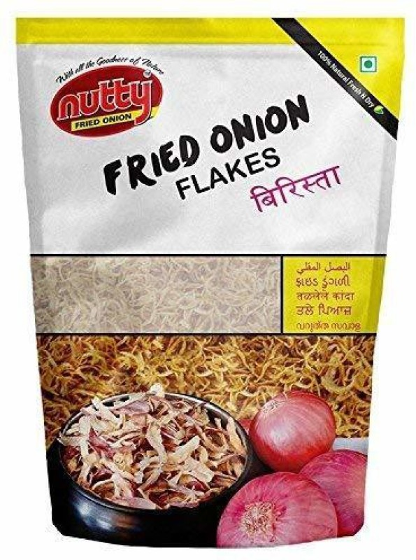 Nutty Fried Onion Flakes - 1 Kgs, Sunflower Oil Base, 100% Natural, Baristaa Vegetables(1 kg)