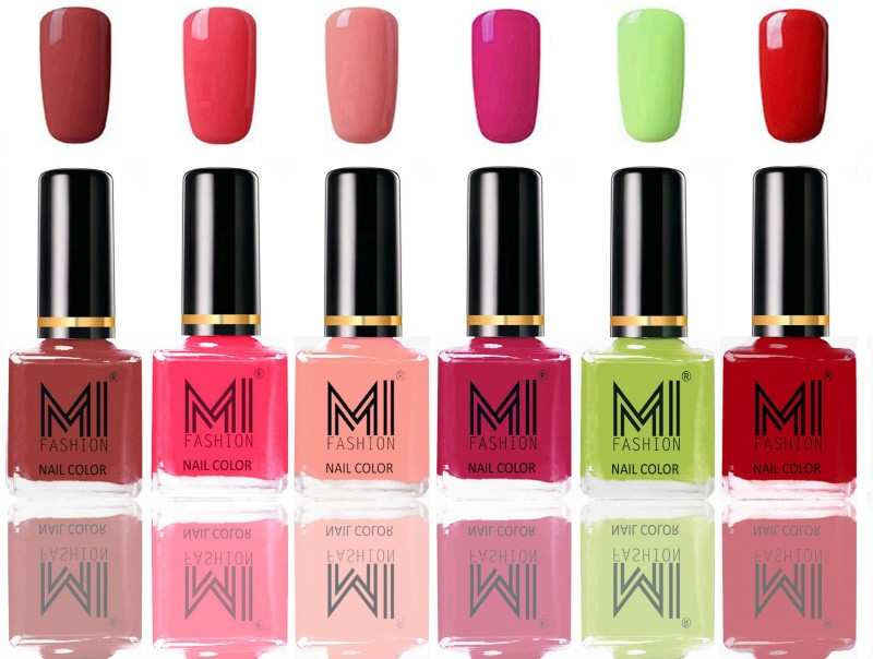 MI FASHION Long Lasting Nail Paint Combo Set of 6 Colors Tan,Light Pink,Candy Cotton,Pink,Lime Green,Red(Pack of 6)