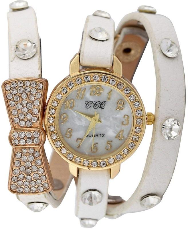 Genevaa Designer Shining Diamond Butterfly White Leather Long Strap Analog Watch - For Girls