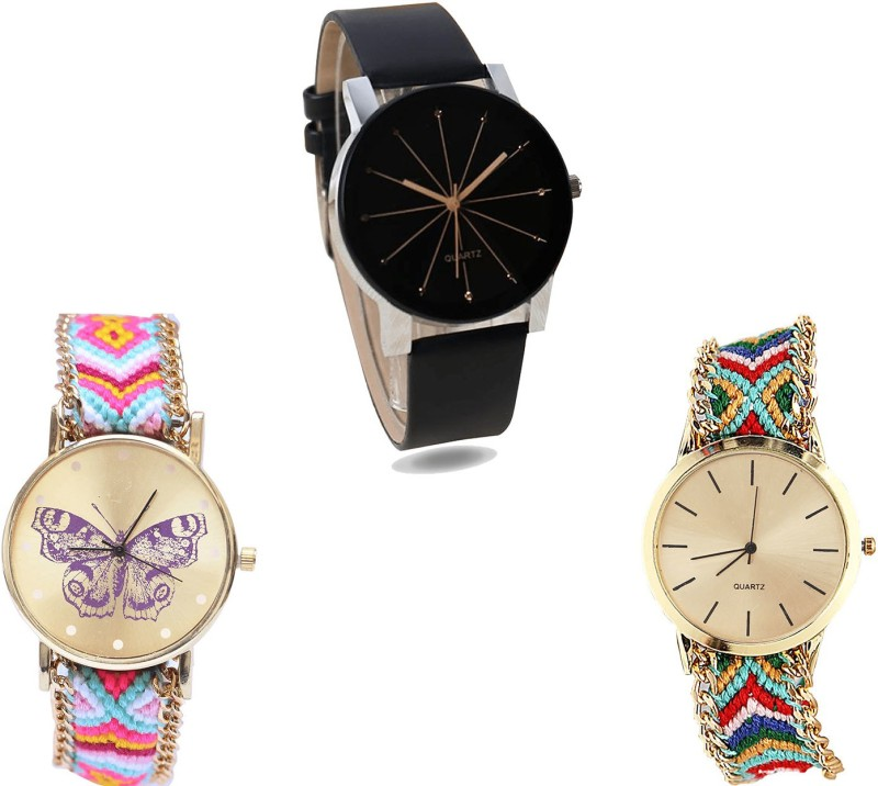 NIKOLA Brand New Casual Butterfly Analogue Black And Multicolor Color Girls And Women Watch - G174-G142-G166 (Combo Of 3 ) combo watch Analog Watch  - For Girls