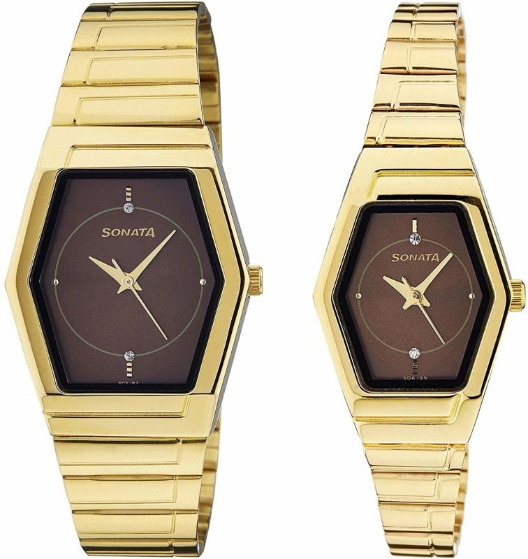 Sonata NF70838074YM03 Analog Watch - For Couple