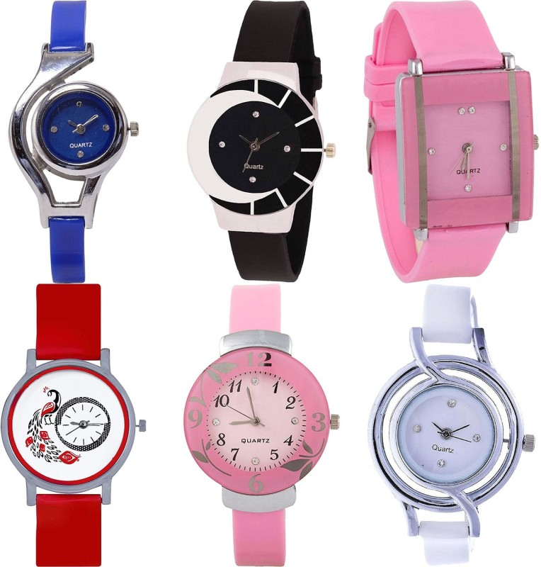NIKOLA Best Diwali World Cup,Peacock And Flower Analogue Blue,Black,Pink,Red And White Color Girls And Women Watch - G2-G8-G14-G22-G26-G50 (Combo Of 6 ) combo watch Analog Watch  - For Girls
