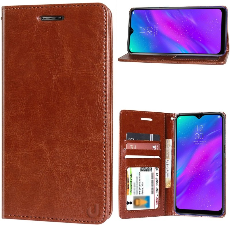 Unistuff Back Cover for Realme 3, Realme 3i(1 ID Card Slot, 1 Cash Slot, Executive Brown, 2 Debit/Credit Card Slot, Dual Protection)