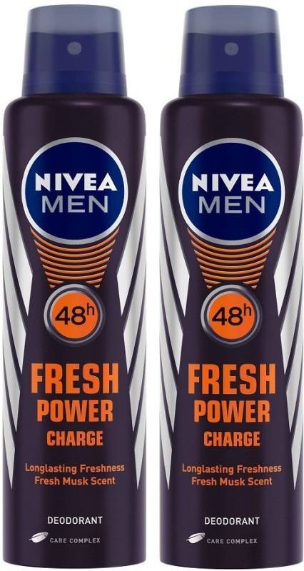 Nivea Men Fresh Power Charge Deodorant Spray - For Men(300 ml, Pack of 2)