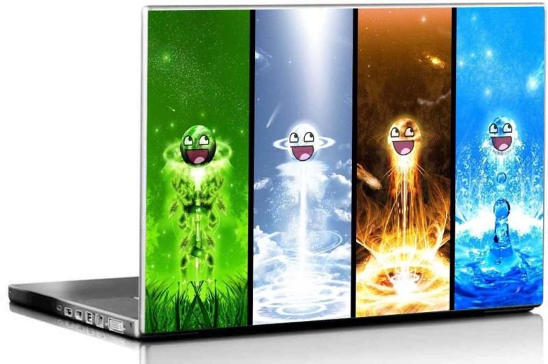 PIXELARTZ Laptop Skin - Smilies - Four Elements - HD Quality - 15.6 Inches 3M Vinyl Paper Laptop Decal 15.6