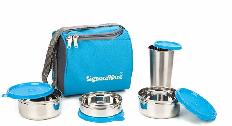 Signoraware Best Steel Lunch Box, Blue (500ml+350ml+200ml) with Steel Tumbler 370ml 3 Containers Lunch Box(1200 ml)