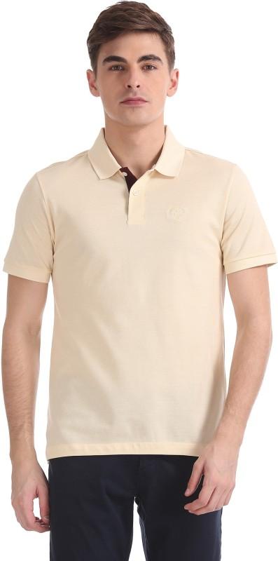 Arrow Solid Men Polo Neck Yellow T-Shirt