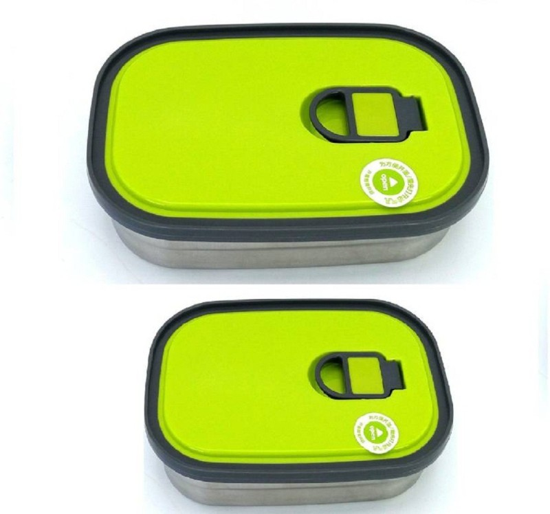 VERBIER Stainless Steel Lunch Box For School Boys And Girls 2 Containers Lunch Box(200 ml)