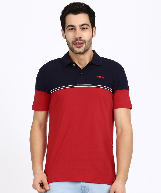 Fila Color Block Men Polo Neck Red, Blue T-Shirt