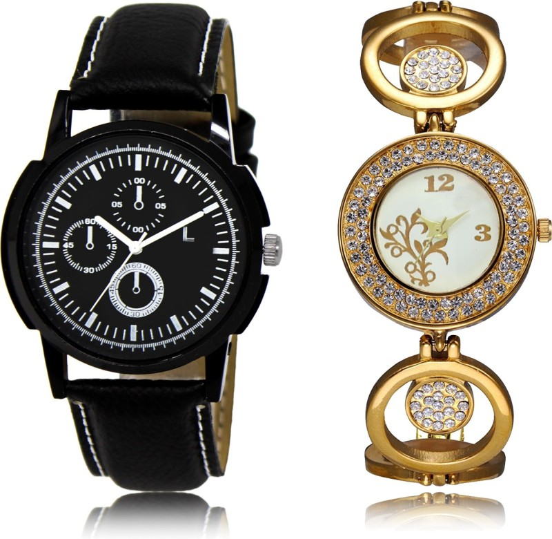 FASHION POOL BLACK CHRONO DESIGNER LEATHER BELT BOYS COMBO WATCH WITH GIRLS DIAMOND STUDDED GOLD ANALOGUE DIAL METAL BELT WATCH FOR LADIES METAL & LEATHER BELT NEW ARRIVAL FAST SELLING TRACK DESIGNER WATCH FOR FESTIVAL_PARTY_PROFESSIONAL_VALENTINE_BIRTHDAY GIFT SPECIAL COMBO WATCH FOR MEN_WOMEN Anal