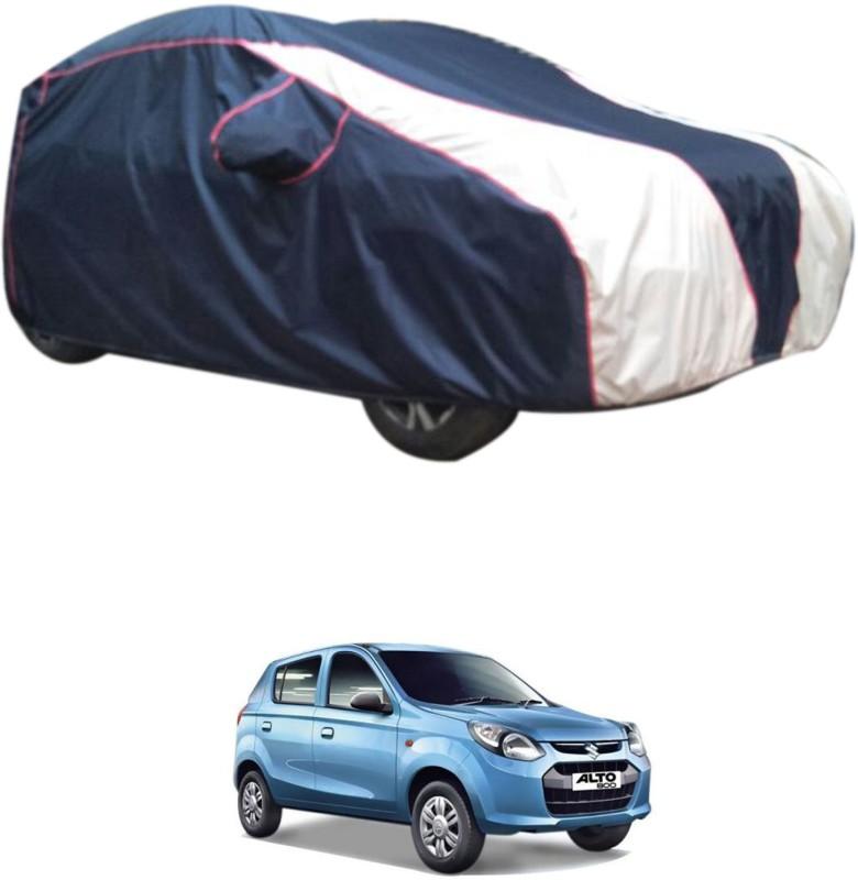 RONISH Car Cover For Maruti Suzuki Alto 800 (With Mirror Pockets)(Blue, White)
