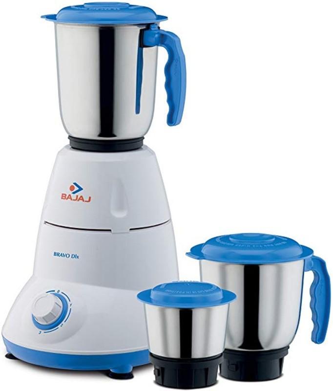 Bajaj Bravo Dlx 500-Watt Mixer Grinder (White/BLUE) 500 Mixer Grinder(blue and white, 3 Jars)