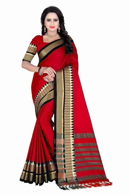 Bombey Velvat Fab Solid Dharmavaram Art Silk, Poly Silk Saree(Red)