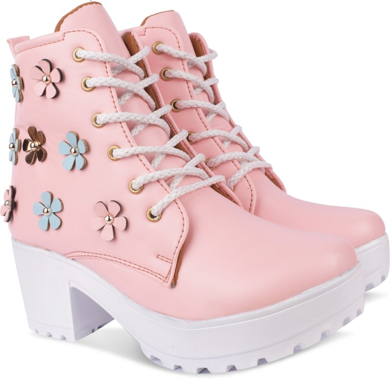 Fath son plan flower boots Boots For Women(Pink)