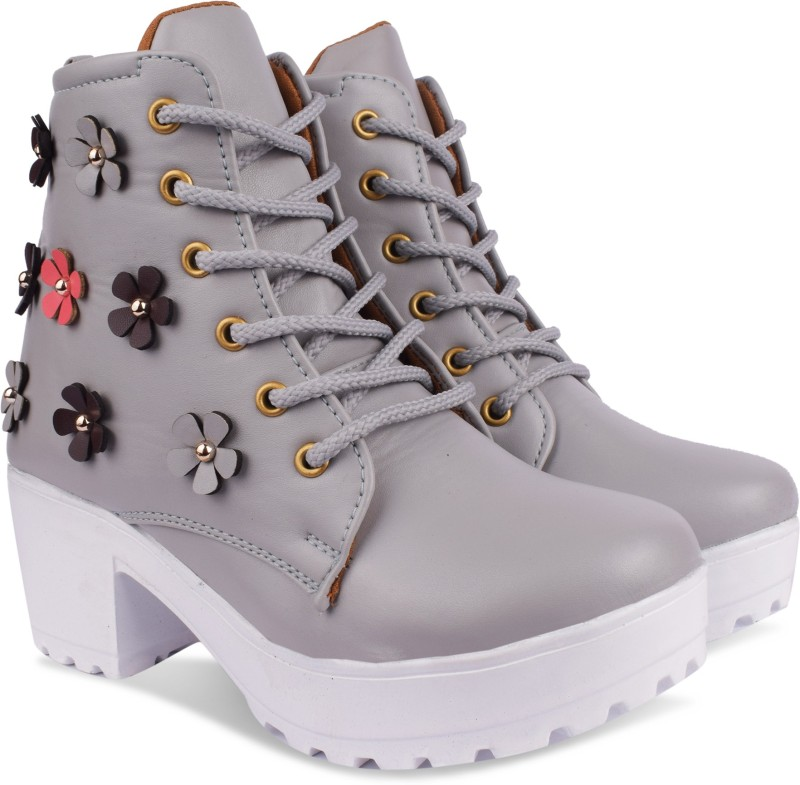 Fath son plan flower boots Boots For Women(Grey)