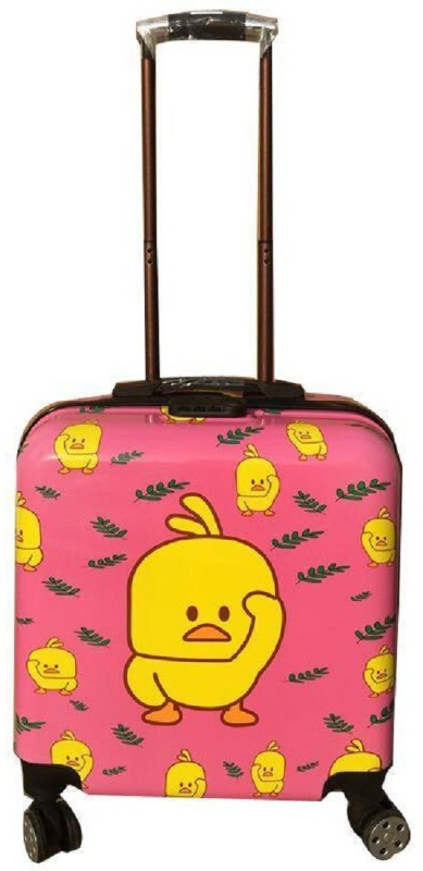 Mei&Ge 360 Degree Rotating 4 Wheel Spinner ABS 18 Inch Hard Shell Square Shaped Box Trolley Cabin Luggage Travel Bag for Kids - Cartoon Design - Pink - 1004 Cabin Luggage - 18 inch(Pink)