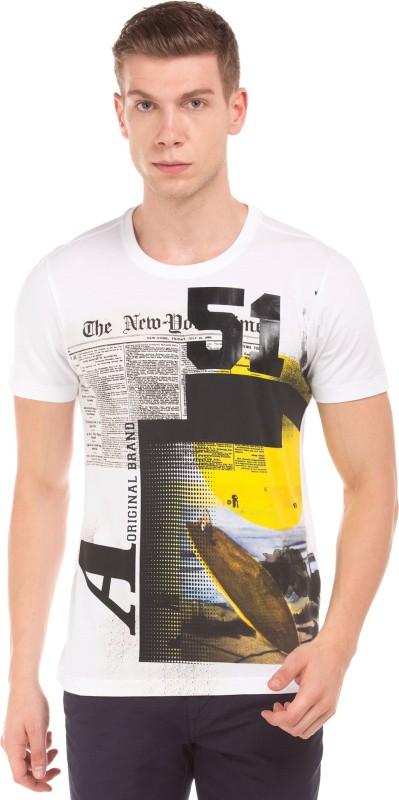 Arrow Printed Men Round Neck White T-Shirt