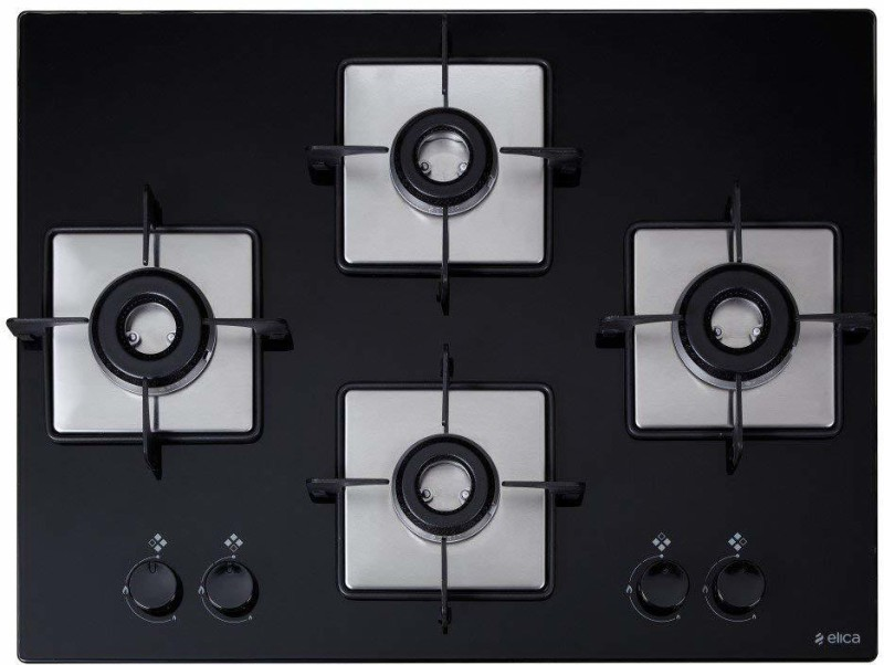 Elica FLEXI HCT 470 DX LOTUS BK Hob Stainless Steel Automatic Gas Stove(4 Burners)