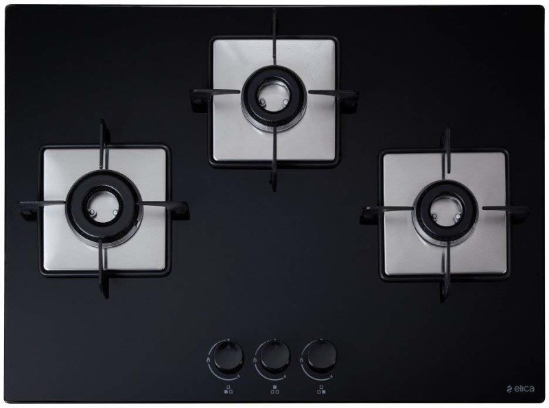Elica FLEXI HCT 375 LOTUS BK Hob Stainless Steel Automatic Gas Stove(3 Burners)