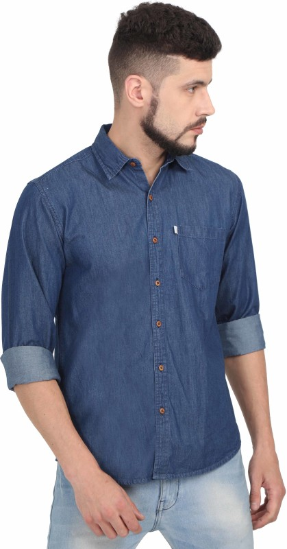 Asian & Fitch Men Washed Casual Blue Shirt