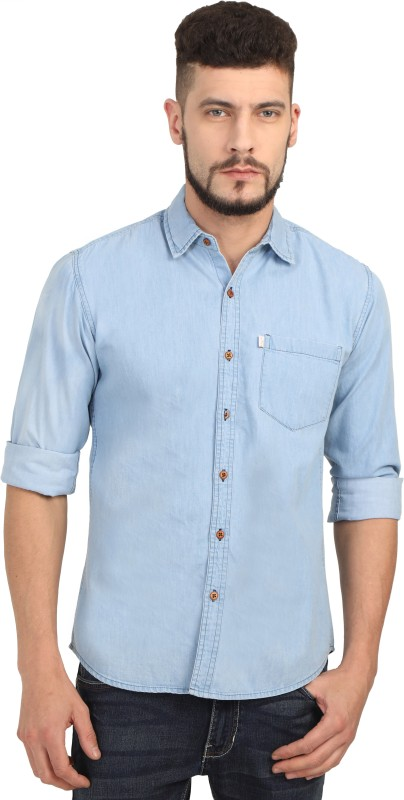 Asian & Fitch Men Washed Casual Light Blue Shirt